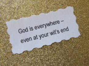 God - wits end on card